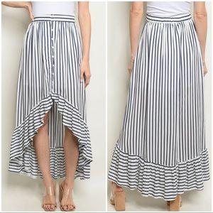 Blue White Nautical Stripe Ruffle Maxi Skirt